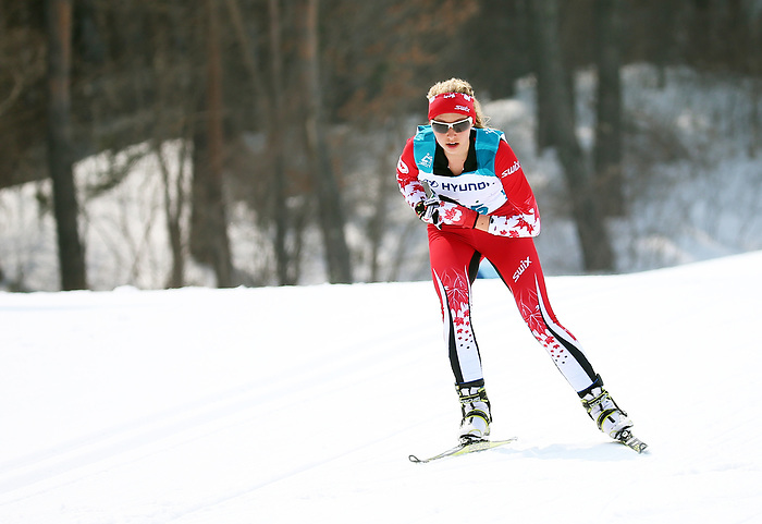 Pyeongchang, Korea, 12/march/2018-Natalie Wilkie competes in the women 15km cross country race during the 2018 Paralympic Games in PyeongChang. Photo Scott Grant/Canadian Paralympic Committee.