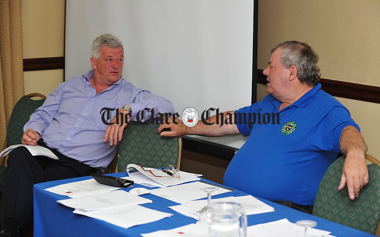 Chairman Paul Tuohy and fixtures secretary Michael Lydon and Ger Delaney of the Munster FA  at the Clare Soccer League AGM in The West County Hotel, Ennis. Photograph by John Kelly.