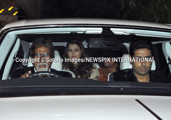 "OPRAH WINFREY IN INDIA.American talk show hostess Oprah Winfrey accompanied by Bollywood actor Amitabh Bachchan, Abhishek Bachchan and Aishwarya Rai attend a party hosted by Indian socialite Parmeshwar Godrej in her honour,_Mumbai, January 16, 2012..She is scheduled to visit five different cities in six days to shoot her new show besides attending the Jaipur Literature Festival later this month. .Oprah will shoot with spiritual guru Deepak Chopra for her new show, Next Chapter..Mandatory Photo Credit: ©Solaris Images/NEWSPIX INTERNATIONAL..**ALL FEES PAYABLE TO: ""NEWSPIX INTERNATIONAL""**..PHOTO CREDIT MANDATORY!!: NEWSPIX INTERNATIONAL(Failure to credit will incur a surcharge of 100% of reproduction fees)..IMMEDIATE CONFIRMATION OF USAGE REQUIRED:.Newspix International, 31 Chinnery Hill, Bishop's Stortford, ENGLAND CM23 3PS.Tel:+441279 324672  ; Fax: +441279656877.Mobile:  0777568 1153.e-mail: info@newspixinternational.co.uk"