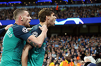 Tottenham Hotspur's Fernando Llorente (right) celebrates with team-mate Toby Alderweireld after scoring his side's third  goal <br /> <br /> Photographer Rich Linley/CameraSport<br /> <br /> UEFA Champions League - Quarter-finals 2nd Leg - Manchester City v Tottenham Hotspur - Wednesday April 17th 2019 - The Etihad - Manchester<br />  <br /> World Copyright © 2018 CameraSport. All rights reserved. 43 Linden Ave. Countesthorpe. Leicester. England. LE8 5PG - Tel: +44 (0) 116 277 4147 - admin@camerasport.com - www.camerasport.com