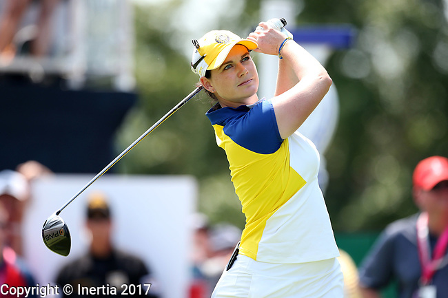 DES MOINES, IA - AUGUST 18: Europe's Caroline Masson hits her tee shot on the 1st hole during her afternoon match at the 2017 Solheim Cup in Des Moines, IA. (Photo by Dave Eggen/Inertia)