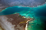 GALAPAGOS ISLANDS, ECUADOR, view from the airplane on the approach into Baltra