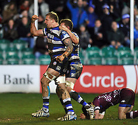 Dominic Day celebrates his try for Bath. Amlin Challenge Cup match, between Bath Rugby and Bordeaux-Begles on January 16, 2014 at the Recreation Ground in Bath, England. Photo by: Patrick Khachfe / Onside Images