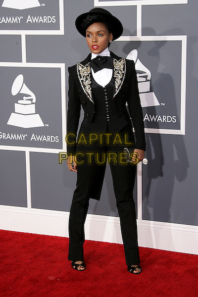 Janelle Monae.The 55th Annual GRAMMY Awards held at STAPLES Center, Los Angeles, California, USA..February 10th, 2013.grammys full length black suit lapels grey gray silver hat embroidered .CAP/ADM.©AdMedia/Capital Pictures.