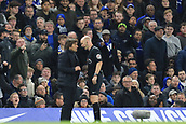 5th November 2017, Stamford Bridge, London, England; EPL Premier League football, Chelsea versus Manchester United; The referee Anthony Taylor speaks with Chelsea Manager Antonio Conte about his complaints