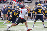 College Park, MD - April 1, 2017: Maryland Terrapins Tim Rotanz (7) attempts a shot during game between Michigan and Maryland at  Capital One Field at Maryland Stadium in College Park, MD.  (Photo by Elliott Brown/Media Images International)