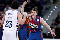 Real Madrid's Sergio Llull (l) and FC Barcelona Regal's Marcelinho Huertas during Spanish Basketball King's Cup match.February 07,2013. (ALTERPHOTOS/Acero) /Nortephoto