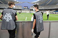 7th June 2020; Oaka Stadium, Athens, Greece, Greek Super league football, AEK Athens versus Panathinaikos;   ballboys with cleansing equipment for the game balls