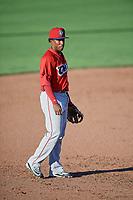Manuel Guzman (12) of the Orem Owlz on defense against the Ogden Raptors in Pioneer League action at Lindquist Field on June 27, 2017 in Ogden, Utah. Ogden defeated Orem 14-5. (Stephen Smith/Four Seam Images)