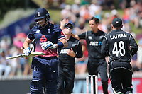 England's Jonny Bairstow departs after his early dismissal by New Zealand's Trent Boult. New Zealand Blackcaps v England. One Day International Cricket. Seddon Park, Hamilton, New Zealand on Sunday 25 February 2018.<br /> <br /> Copyright photo: &copy; Bruce Lim / www.photosport.nz