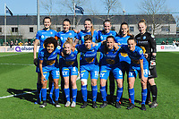 20190324 - OOSTAKKER , BELGIUM : Gent's Marie Minnaert , Silke Vanwynsberghe , Nicky Van Den Abbeele , Lotte De Wilde , Amber Maximus , Lowiese Seynhave , Kassandra Missipo , Elena Dhont , Isabelle Iliano , Lenie Onzia and Chloe Vande Velde pictured posing for the teampicture before the quarter final of Belgian cup 2019 , a womensoccer game between KAA Gent Ladies and RSC Anderlecht , at the PGB stadion in Oostakker , sunday 24 th March 2019 . PHOTO SPORTPIX.BE | STIJN AUDOOREN