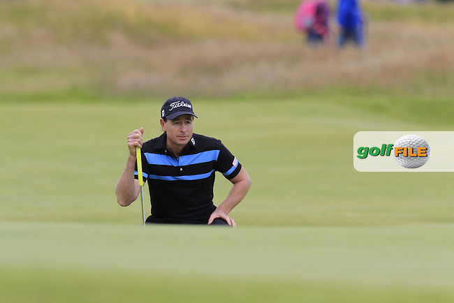 Brett Rumford (AUS) lines up his putt onto the 17th green during Monday's Final Round of the 144th Open Championship, St Andrews Old Course, St Andrews, Fife, Scotland. 20/07/2015.<br /> Picture Eoin Clarke, www.golffile.ie