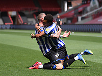 28th June 2020; Ashton Gate Stadium, Bristol, England; English Football League Championship Football, Bristol City versus Sheffield Wednesday; Connor Wickham of Sheffield Wednesday celebrates with Jacob Murphy after scoring the first goal in the 13th minute 0-1