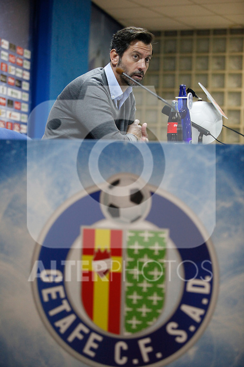 Getafe´s coach Quique Sanchez Flores speaks during a press conference after 2014-15 La Liga match at Alfonso Perez Coliseum stadium in Getafe, Spain. February 08, 2015. (ALTERPHOTOS/Victor Blanco)