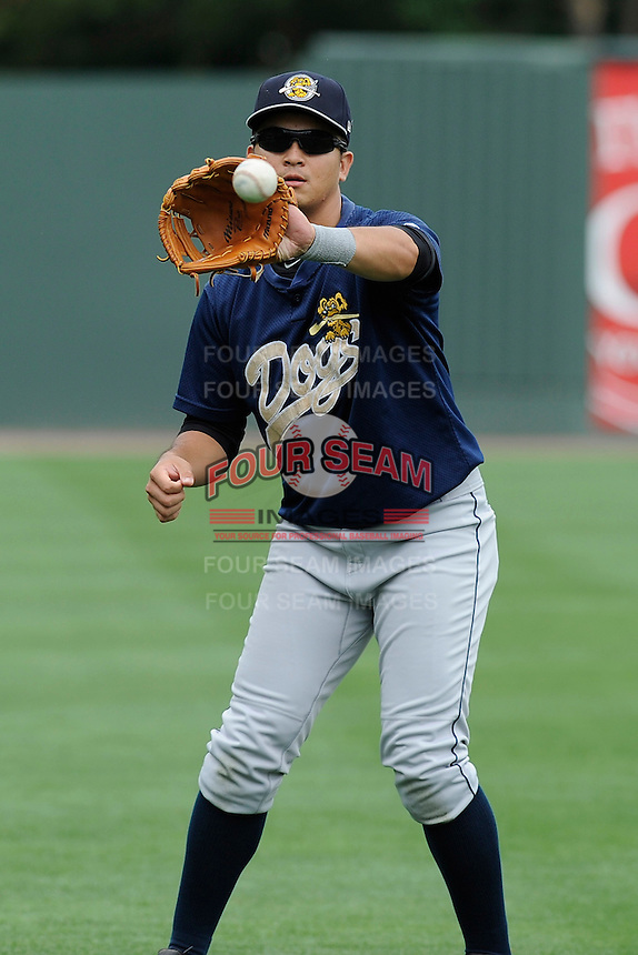 Infielder Fu-Lin Kuo (17) of the Charleston RiverDogs before a game against the Greenville Drive on Sunday, May 19, 2013, at Fluor Field at the West End in Greenville, South Carolina. Charleston won, 9-7. (Tom Priddy/Four Seam Images)
