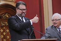 David Heurtel is sworn in as Ministre de líImmigration, de la Diversite et de líInclusion (Minister of Immigration) of the new Liberal cabinet at the National Assembly in Quebec city October 11, 2017.<br /> <br /> PHOTO :  Francis Vachon - Agence Quebec Presse