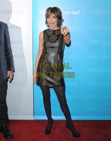 Lisa Rinna .at The NBC Universal Press Tour All-Star Party, The Athenaeum, Pasadena, California, USA, January 6th 2012..full length  black dress  gold leather sleeveless studded studs tights hand finger pointing .CAP/RKE/DVS.©DVS/RockinExposures/Capital Pictures.