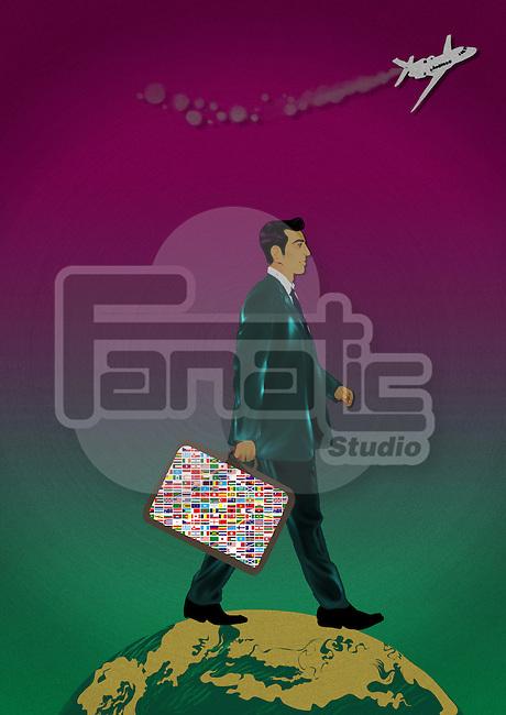 Businessman walking on a globe