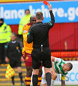18th March 2018, Fir Park, Motherwell, Scotland; Scottish Premiership football, Motherwell versus Celtic;  Referee Craig Thomson red cards Cedric Kipre for pushing Scott Brown in retaliation