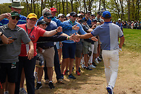 Paul Casey (GBR) high fives fans on his way to the tee on 12 during round 4 of the 2019 PGA Championship, Bethpage Black Golf Course, New York, New York,  USA. 5/19/2019.<br /> Picture: Golffile | Ken Murray<br /> <br /> <br /> All photo usage must carry mandatory copyright credit (© Golffile | Ken Murray)