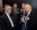 Belgium, Brussels - April 16, 2015 -- European Dialogue 2015: 'Prosperity in Europe (only if we stop the growing inequality)', jointly held by Hans Böckler Foundation and ETUI (European Trade Union Institute) at 'The Hotel'; here, Prof. Paul Krugman (le), Princeton University and Nobel Prize winner 2008; László Andor (2.le), EU Commissioner for Employment, Social Affairs and Inclusion 2010-2014; Michael Brocker (2.ri), radio journalist, WDR Cologne; Prof. Dr. Gustav A. Horn (ri) -- Photo © HorstWagner.eu
