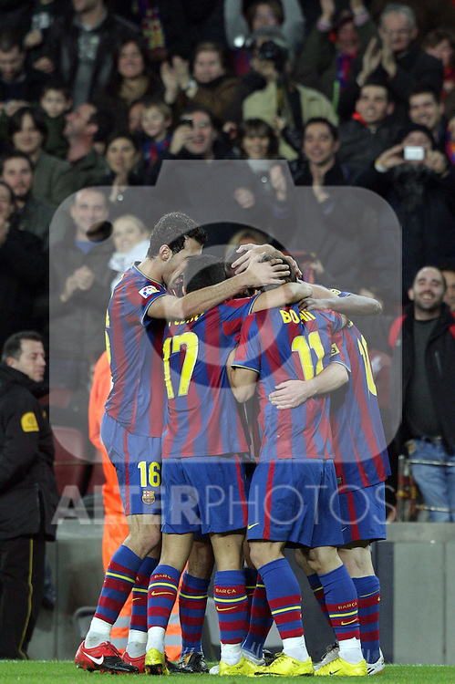 Football Season 2009-2010. Barcelona players Pedro Rodriguez, Lionel Messi, Bojan Krkic, Sergio Busquets celebrating a goal during their spanish liga soccer match at Camp Nou stadium in Barcelona. January 16, 2010.