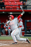 Alex Real #3 of the New Mexico Lobos bats against the San Diego State Aztecs at Tony Gwynn Stadium on May 16, 2013 in San Diego, California. New Mexico defeated San Diego State, 14-6. (Larry Goren/Four Seam Images)