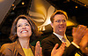 Liberal Democrats<br /> Autumn Conference 2011 <br /> at the ICC, Birmingham, Great Britain <br /> <br /> 17th to 21st September 2011 <br /> <br /> Miriam Gonzalez Durantez &amp; Rt Hon Danny Alexander MP <br /> watching Nick Clegg's speech <br /> <br /> <br /> <br /> Rt Hon Nick Clegg MP<br /> Leader of the Liberal Democrats<br /> Deputy Prime Minister<br /> Speech <br /> <br /> Photograph by Elliott Franks
