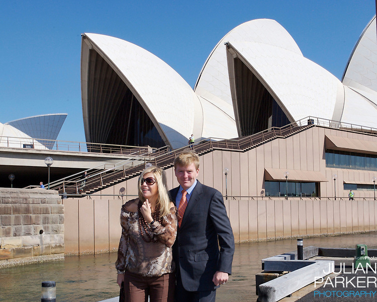 Crown Prince Willem-Alexander & Crown Princess Maxima of the Netherlands six-day tour of Australia..Boarding a boat at the Sydney Opera House, to attend a business breakfast cruise..