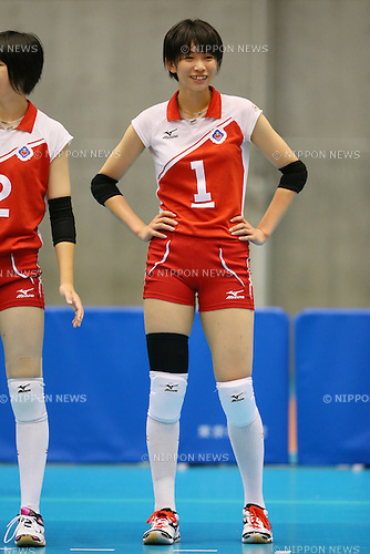 Sarina Koga (Kumamoto Shinai), <br /> AUGUST 11, 2014 - Volleyball : <br /> 2014 All-Japan Inter High School Championships, <br /> Women's Semi-final match <br /> between Kumamoto Shinai 2-0 Kagoshima Joshi <br /> at Tokyo Metropolitan Gymnasium, Tokyo, Japan. <br /> (Photo by YUTAKA/AFLO SPORT) [1040]