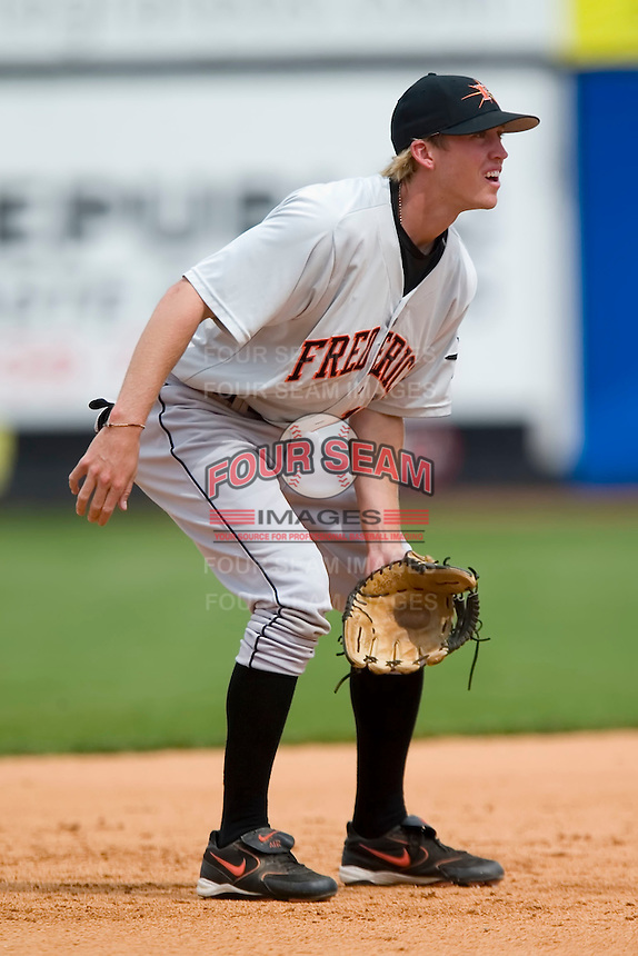 Shortstop Jason White (17) of the Frederick Keys on defense versus the Winston-Salem Warthogs at Ernie Shore Field in Winston-Salem, NC, Sunday, April 20, 2008.