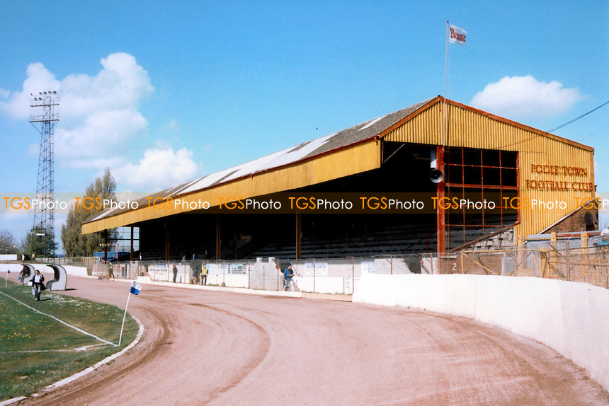 Poole Stadium, home of Poole Town Football Club (Dorset), pictured in April 1994 - Gavin Ellis/TGSPHOTO - Self billing applies where appropriate - 0845 094 6026 - contact@tgsphoto.co.uk - NO UNPAID USE..