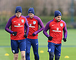 England's Kyle Walker with Eric Dier and Harry Kane during training at the Tottenham Hotspur Training Centre.  Photo credit should read: David Klein/Sportimage