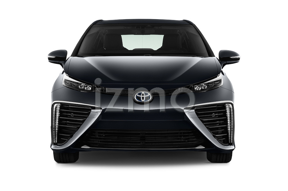 Car photography straight front view of a 2016 Toyota Mirai Mirai 4 Door Sedan Front View