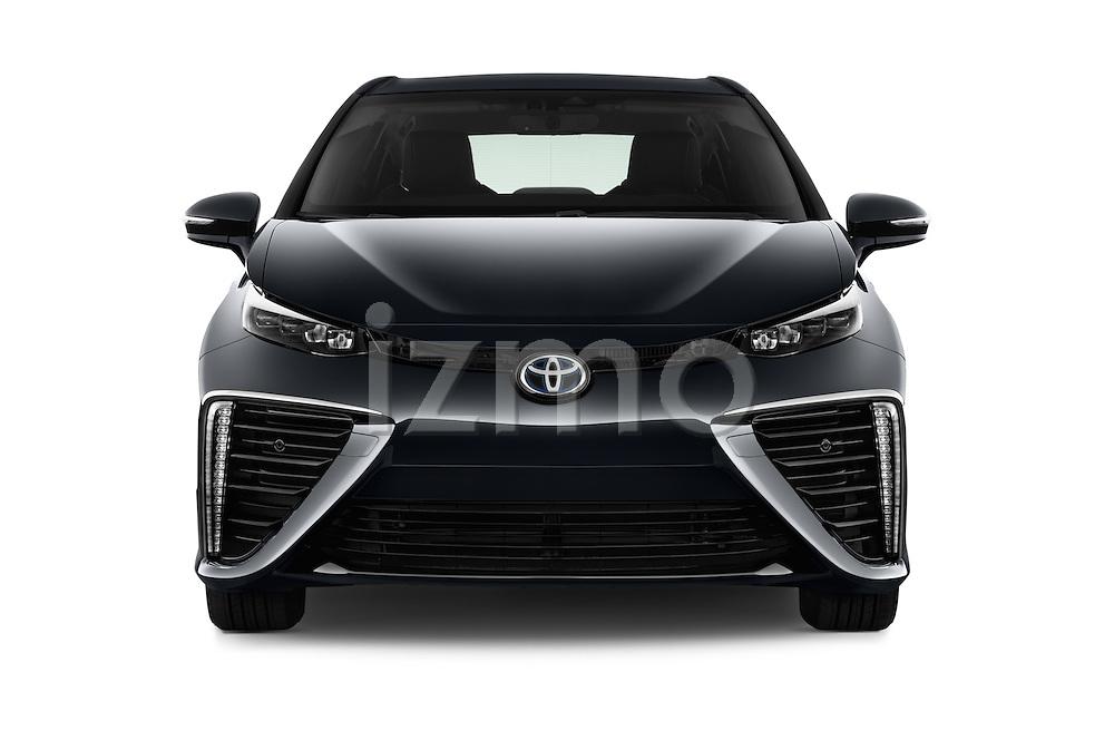 Car photography straight front view of a 2017 Toyota Mirai Mirai 4 Door Sedan Front View