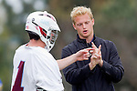 Los Angeles, CA 04/02/10 - Marc Napp (LMU #1) and Coach Mike Gvozden in action during the UCSB-LMU MCLA SLC conference lacrosse game at Loyola Marymount University.