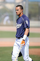 Donavan Tate #20 of the San Diego Padres plays in a minor league spring training game against the Seattle Mariners at the Padres minor league complex on March 19, 2011  in Peoria, Arizona. .Photo by:  Bill Mitchell/Four Seam Images.