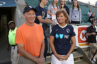 Cary, North Carolina  - Saturday September 09, 2017: Robert Mewis and Melissa Mewis, parents of Houston's Kristie and Carolina's Samantha, prior to a regular season National Women's Soccer League (NWSL) match between the North Carolina Courage and the Houston Dash at Sahlen's Stadium at WakeMed Soccer Park. The Courage won the game 1-0.