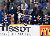 Jack Campbell (USA - 1), Stan Wong (USA - Trainer), John Ramage (USA - 2), John Carlson (USA - 11), Mark Osiecki (USA - Assistant Coach), Matt Donovan (USA - 4), Cam Fowler (USA - 24) - Team USA defeated Team Finland 6-2 on Saturday, January 2, 2010, at Credit Union Centre in Saskatoon, Saskatchewan during the 2010 World Juniors quarterfinals.