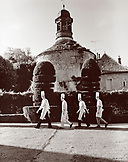 France, Burgundy, chefs walking in garden, Abbaye De La Bussiere Restaurant and Hotel, Dijon (B&W)