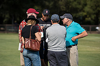 STANFORD, CA -- August 12, 2018. <br /> David Shaw with reporters after the 2018 Stanford Cardinal Football practice at the Elliott Practice Fields.