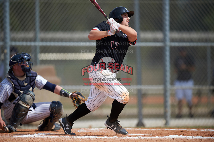 Edgewood College Eagles Callen Gavic (17) at bat during the second game of a doubleheader against Western Connecticut Colonials on March 13, 2017 at the Lee County Player Development Complex in Fort Myers, Florida.  Edgewood defeated Western Connecticut 2-1.  (Mike Janes/Four Seam Images)