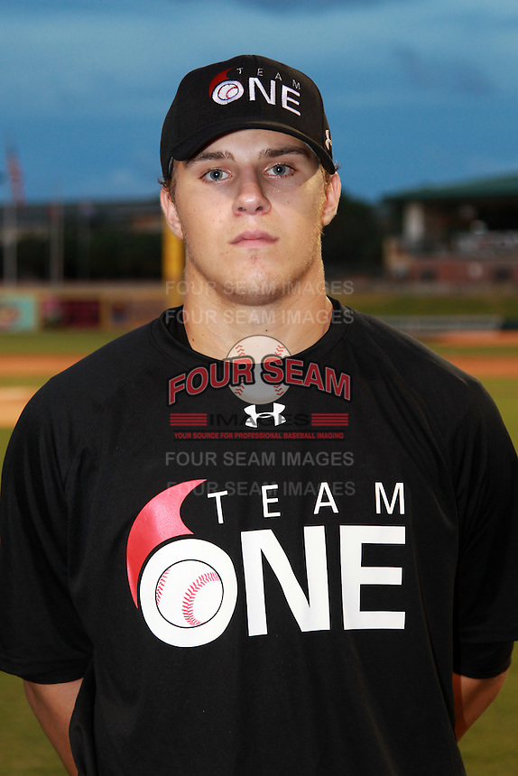 Pitcher/First Baseman Jacob Thompson (23) of Rockwall Health High School participates in the Team One Futures Game East at Roger Dean Stadium in Jupiter, Florida September 25, 2010..  Photo By Mike Janes/Four Seam Images