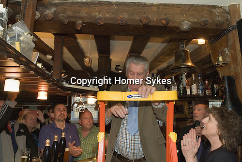 Horndon on the Hill, Essex. The Bell Inn, Hot Cross buns hang from the rafters of this 15century pubic house. A new one is added each Easter Good Friday. In 2016 the hot cross bun was put in place by Mr Mac Mcnally