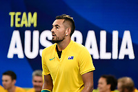 9th January 2020; Sydney Olympic Park Tennis Centre, Sydney, New South Wales, Australia; ATP Cup Australia, Sydney, Day 7; Great Britain versus Australia; Cameron Norrie of Great Britain versus Nick Kyrgios of Australia; Nick Kyrgios of Australia - Editorial Use
