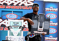 Aug. 31, 2013; Clermont, IN, USA: NHRA top fuel dragster driver Antron Brown at the Traxxas Shootout during qualifying for the US Nationals at Lucas Oil Raceway. Mandatory Credit: Mark J. Rebilas-