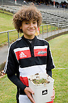 Orbyn Leger holds the sod of Growers Stadium that will be sent with the All Blacks to the World Cup. Air New Zealand Cup pre-season rugby game between the Counties Manukau Steelers & Northland, played at Growers Stadium on July 21st, 2007. Counties Manukau won 28 - 17.
