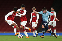 Xavier Amaechi of Arsenal collides with his teammate, Tyreece John-Jules during Arsenal Youth vs Blackpool Youth, FA Youth Cup Football at the Emirates Stadium on 16th April 2018