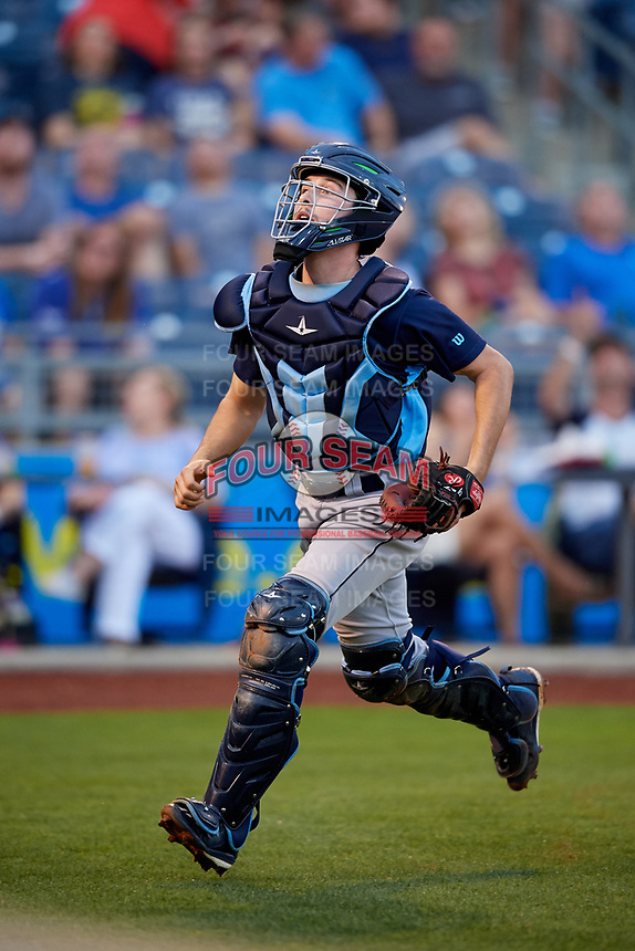 Corpus Christi Hooks catcher Garrett Stubbs (1) tracks a pop up during a game against the Tulsa Drillers on June 3, 2017 at ONEOK Field in Tulsa, Oklahoma.  Corpus Christi defeated Tulsa 5-3.  (Mike Janes/Four Seam Images)