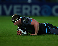 28th February 2020; RDS Arena, Dublin, Leinster, Ireland; Guinness Pro 14 Rugby, Leinster versus Glasgow; Alex Allan (Glasgow Warriors) touches down to score a try